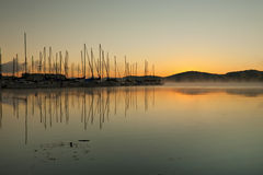 Sunrise at the sailboat club Royalty Free Stock Images