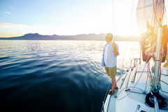 Sunrise sailing boat Royalty Free Stock Image