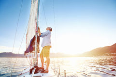 Sunrise sailing boat Royalty Free Stock Photo