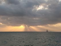Sunrise. From a sailor& x27;s eyes stock photography
