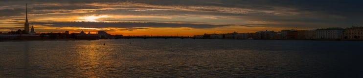 Sunrise in Saint Petersburg panorama. Panoramic shot of sunrise in Saint Petersburg view on Peter & Paul fortress Royalty Free Stock Image