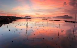 Sunrise at Sam Chong Tai, Phang-Nga bay southern of Thailand Stock Images