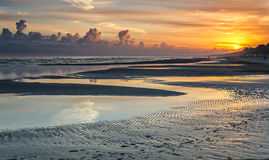 Sunrise at sandy beach of the Baltic Sea, Latvia Royalty Free Stock Images