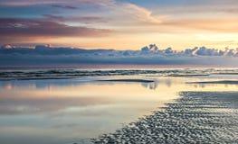 Sunrise at sandy beach of the Baltic Sea, Latvia Stock Photos