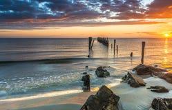 Sunrise at sandy beach of the Baltic Sea, Latvia Stock Photo