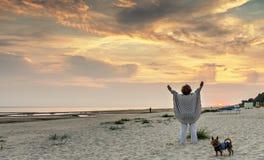 Sunrise at sandy beach of Jurmala, Latvia Stock Photography