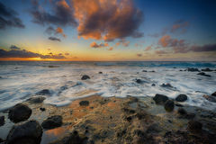 Sunrise from Sandy Beach, Oahu, Hawaii Royalty Free Stock Image