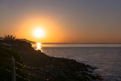 Sunrise in Sanremo, Italy. View of the sunrise on the sea in Sanremo, Italy Royalty Free Stock Photo