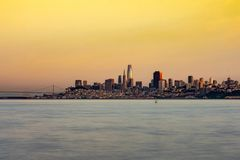 Sunrise from Sausalito towards San Francisco Skyline stock photos