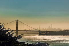 Sunrise from Sausalito towards San Francisco Skyline stock photo