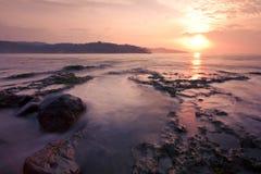 Sunrise. At Sawarna Beach, Indonesia Royalty Free Stock Photo