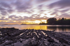 Sunrise at Scandrett Beach Auckland New Zealand. Rough and Rocky Surface Appears During Low Tide Royalty Free Stock Photos