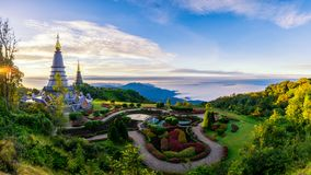 Sunrise scence of two pagoda on the top of Inthanon mountain in. Doi Inthanon national park, Chiang Mai, Thailand royalty free stock image