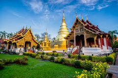 Sunrise scence of Wat Phra Singh temple. This temple contains su. Preme examples of Lanna art in the old city center of Chiang Mai,Thailand royalty free stock images
