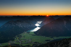 Sunrise scene in austrian mountains Stock Images
