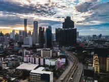 Sunrise scene of Bangkok city. Aerial view of Bangkok sunset Royalty Free Stock Images