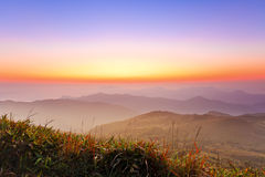 Majestic sunrise in montain landscape Stock Photography