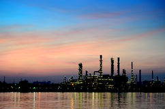 Sunrise scene of Oil refinery Royalty Free Stock Image