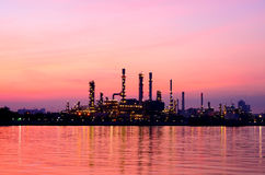 Sunrise scene of Oil refinery Stock Images