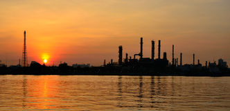 Sunrise scene of Oil refinery Stock Image