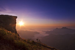 Sunrise scene with the peak of mountain Royalty Free Stock Photo
