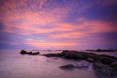 Sunrise scene on sea coast of Thailand Stock Images