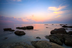 Sunrise scene on sea coast of Thailand Royalty Free Stock Photography