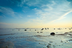 Sunrise scenery. Beautiful sunrise scenery with a coast Stock Image