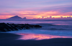 Sunrise scenery beautiful coast of Taiwan stock image