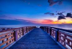 Beautiful sunrise in Taiwan. Sunrise scenery of coast in Fulong Beach ,Taiwan royalty free stock photo