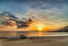 Beautiful sunrise in Taiwan. Sunrise scenery of coast in Fulong Beach ,Taiwan royalty free stock images