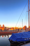 Sunrise scenery of Gdansk old town in Poland Royalty Free Stock Photo