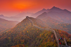 Sunrise scenery of the Great Wall in Hebei Qinhuangdao Royalty Free Stock Image