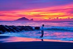 Beautiful sunrise in Taiwan. Sunrise scenery of Turtle Island in Yilan coast, Taiwan stock photos