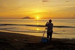 Beautiful sunrise in Taiwan. Sunrise scenery of Turtle Island in Yilan coast, Taiwan stock image