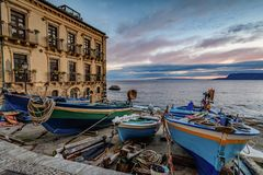 SUNRISE AT SCILLA. SUNRISE AT CHIANALEA, SCILLA TOWN CALABRIA royalty free stock photos