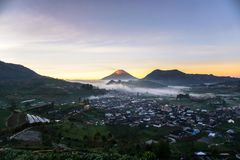 Sunrise. At scooter hill, Dieng, Indonesia Stock Photo