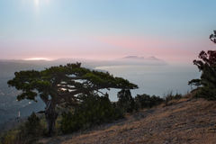 Sunrise and the sea. Beautiful sunrise in crimea mountains Royalty Free Stock Images