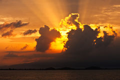 Sunrise on the sea. Sunrise on the east sea of Thailand Stock Photos