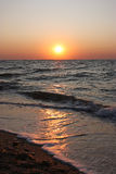 Sunrise on the sea. In Kerch Stock Photography