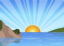 Sunrise at sea. Illustration of a sunrise at sea royalty free illustration