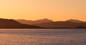 Sunrise on sea. Golden sunrise on the sea stock photography