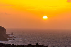 Sunrise at sea in the Atlantic Ocean on the island of Madeira Royalty Free Stock Image