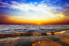 Sunrise in the sea. Beautiful dawn on a background a sea Royalty Free Stock Images