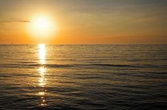 Sunrise in the sea. Beautiful sunset over the ocean. Sunrise in the sea Stock Photography