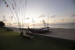 The sunrise by the sea. Sunrise on the Chao samran beach in Phetchaburi Stock Images