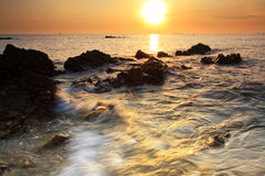 Sunrise at the sea,Chumphon province, Thailand. Royalty Free Stock Photo