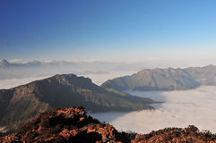 Sunrise with sea of clouds. Sea of clouds pictures in china Minya Konka Mountains in Tibetan Plateau Stock Images
