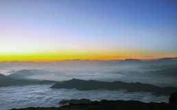 Sunrise with sea of clouds Royalty Free Stock Photo
