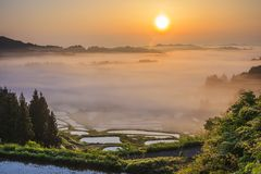 Sunrise from sea of clouds Stock Photos